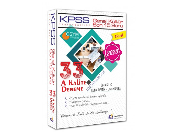 2020 KPSS Vatandaşlık 33 A Kalite Deneme Sınavları Next Kariyer Yayınları